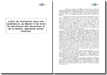 Candidature au Master II de droit du patrimoine, des personnes et de la famille, spécialité droit notarial