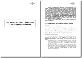 Les reports de crédits : règles de la LOLF et application concrète