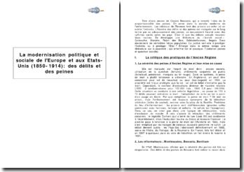 La modernisation politique et sociale de l'Europe et des Etats-Unis (1850-1914) : des délits et des peines