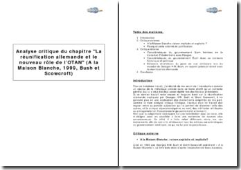 Analyse critique du chapitre La réunification allemande et le nouveau rôle de l'OTAN (A la Maison Blanche, 1999, Bush et Scowcroft)