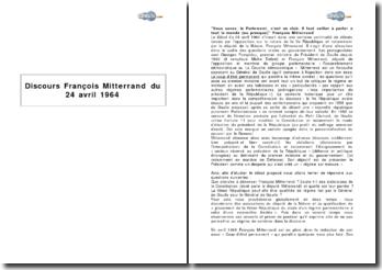 Discours de François Mitterrand, 24 avril 1964