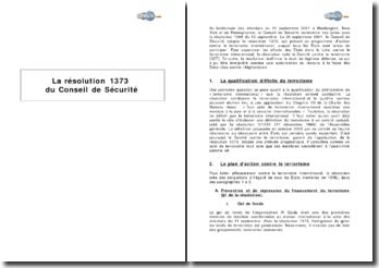 La résolution 1373 du Conseil de Sécurité : plan de lutte contre le terrorisme international