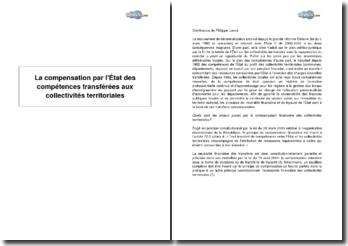 La compensation par l'État des compétences transférées aux collectivités territoriales