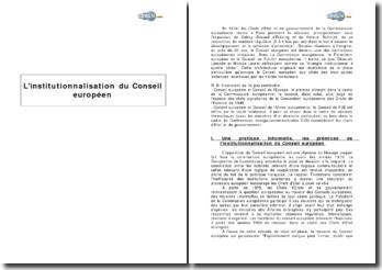 L'institutionnalisation du Conseil européen