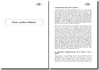 Force, justice - d'après un extrait de Blaise Pascal
