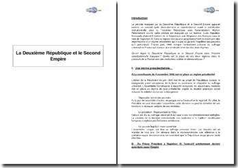 La Deuxième République et le Second Empire