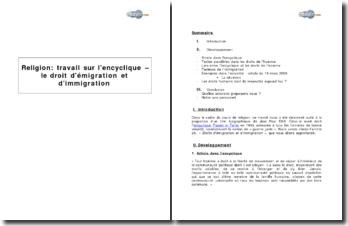 Travail sur un extrait de l'encyclique Pacem in Terris (1963) - le droit d'émigration et d'immigration