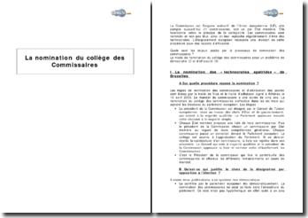 La nomination du collège des Commissaires européens
