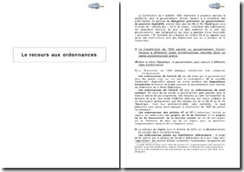 Le recours aux ordonnances et les ajustements institutionnels (2009)