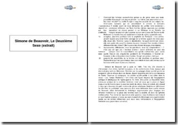 Simone de Beauvoir, Le Deuxième Sexe (extrait)