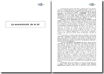La souveraineté de la loi et sa portée actuelle (2009)
