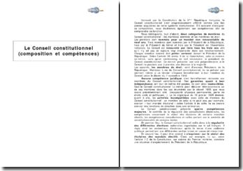 Le Conseil constitutionnel (composition et compétences)