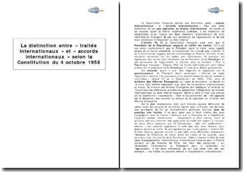 La distinction entre « traités internationaux » et « accords internationaux » selon la Constitution du 4 octobre 1958