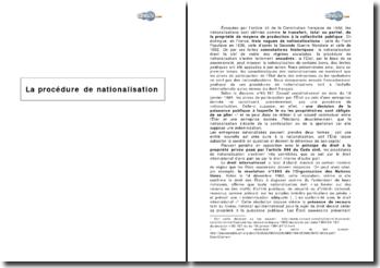 La procédure de nationalisation
