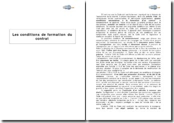 Les conditions de formation du contrat et les articles 1109 à 1115 du Code civil