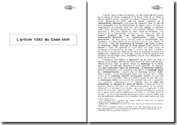 L'article 1382 du Code civil : la responsabilité pour faute personnelle