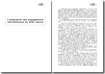 L'intégration des engagements internationaux en droit interne
