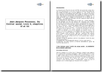 Jean-Jacques Rousseau, Du Contrat social, Livre II, chapitres VI et VII