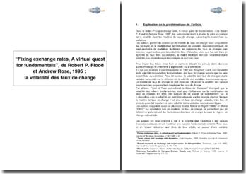Fixing exchange rates, A virtual quest for fundamentals, de Robert P. Flood et Andrew Rose, 1995 : la volatilité des taux de change