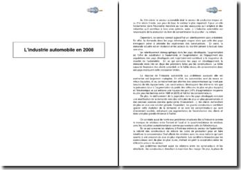L'industrie automobile en 2008