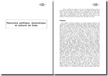 Panorama politique, économique et culturel de Cuba
