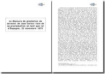 Le discours de prestation de serment de Juan Carlos I lors de sa proclamation en tant que roi d'Espagne, 22 novembre 1975