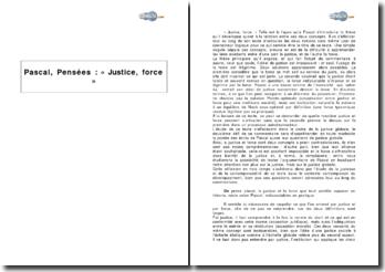 Pascal, Pensées : « Justice, force »