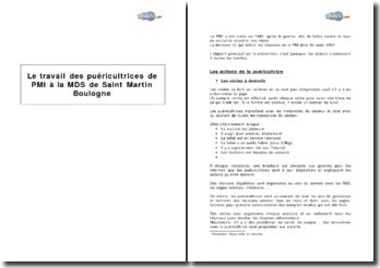 Le travail des puéricultrices de Protection maternelle et infantile (PMI) dans une Maison départementale des solidarités (MDS)