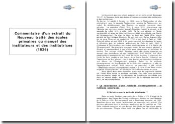 Extrait du Nouveau traité des écoles primaires ou manuel des instituteurs et des institutrices (1826)