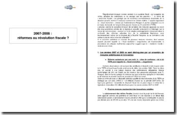 2007-2008 : réformes ou révolution fiscale ?