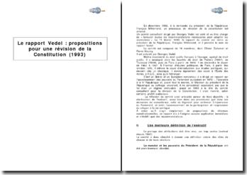 Le rapport Vedel : propositions pour une révision de la Constitution (1993)