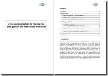 L'internationalisation de l'entreprise et la gestion des ressources humaines