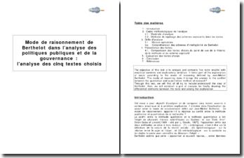 Mode de raisonnement de Berthelot dans l'analyse des politiques publiques et de la gouvernance : analyse de cinq textes choisis