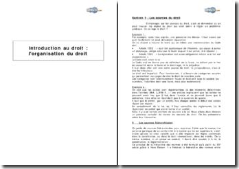 Introduction au droit : l'organisation du droit