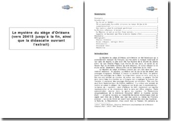 Le Mystère du siège d'Orléans (vers 20 415 jusqu'à la fin, ainsi que la didascalie ouvrant l'extrait)