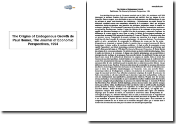 The Origins of Endogenous Growth de Paul Romer, The Journal of Economic Perspectives, 1994