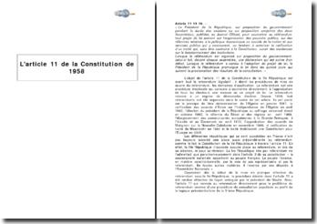 L'article 11 de la Constitution de 1958 : le référendum législatif