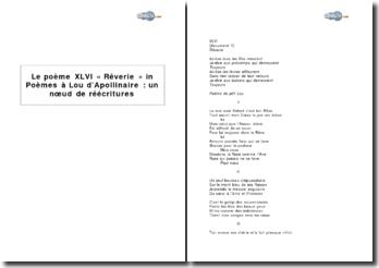 Le poème XLVI « Rêverie » in Poèmes à Lou d'Apollinaire : un noeud de réécritures