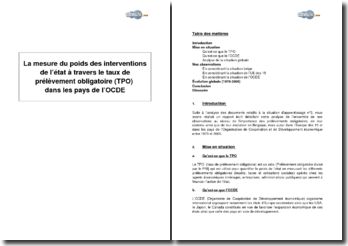 La mesure du poids des interventions de l'Etat à travers le taux de prélèvement obligatoire (TPO) dans les pays de l'OCDE