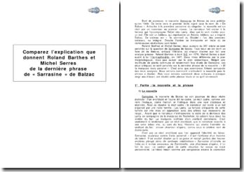 Comparez l'explication que donnent Roland Barthes et Michel Serres de la dernière phrase de Sarrasine de Balzac