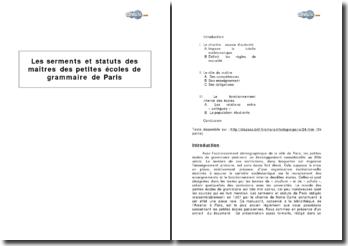 Les serments et statuts des maîtres des petites écoles de grammaire de Paris