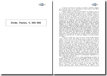 Ovide, Fastes, V, 550-596 - le renouveau religieux et culturel entrepris par Auguste