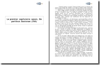 Le premier capitulaire saxon, De partibus Saxionae (785)