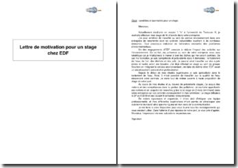 Candidature spontanée pour un stage au service environnement chez EDF