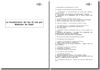 La Constitution de l'an III vue par Madame de Staël