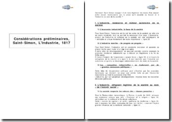 Considérations préliminaires, Saint-Simon, L'Industrie, 1817