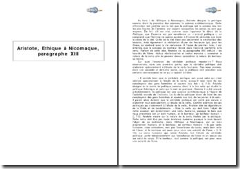 Aristote, Ethique à Nicomaque, paragraphe XIII