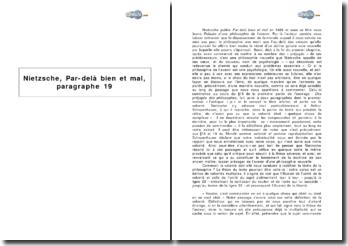 Nietzsche, Par-delà bien et mal, paragraphe 19 - volonté et libre-arbitre