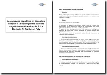 Les sciences cognitives en éducation, chapitre 1 : Sociologie des activités cognitives en éducation, de René La Borderie, Nicolas Sembel, Jacques Paty