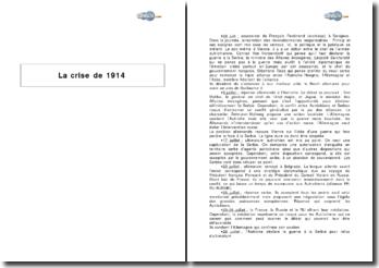 La crise de 1914 : chronologie et éléments explicatifs